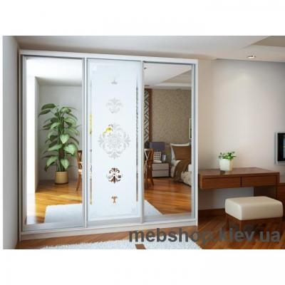 Шкаф-купе Ника 3 (2 двери зеркало и дверь пескоструй)