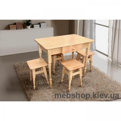 Кухонный комплект(стол+4 табуретки) бук светлый