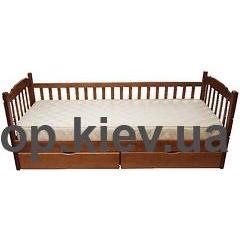 Кровать Юниор (сосна) с одним забором + ящики Микс Мебель