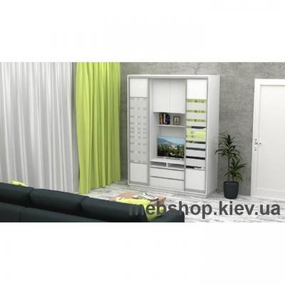 Шкаф-купе FLASHNIKA Слайд 1 (двери ДСП комби зеркало с пескоструем)
