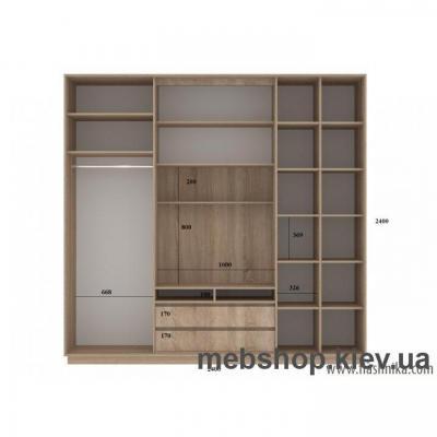 Шкаф-купе FLASHNIKA Слайд 7 (двери ДСП комби зеркало с пескоструем)
