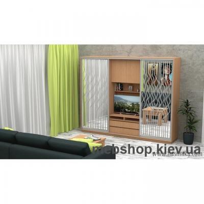 Купить Шкаф-купе FLASHNIKA Слайд 12 (двери зеркало с пескоструем) . Фото