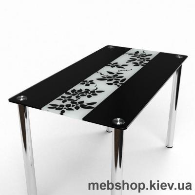 Обеденный стол Цветы рая черно-белый