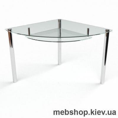 Обеденный стол Сектор прозрачный с полкой