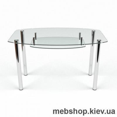 Обеденный стол Бочка прозрачный с полкой