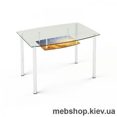 Купить Обеденный стол стеклянный ESCADO S2 верх прозрачный; низ нанесение рисунка, узора, фотопечати или заливка цветом. Фото