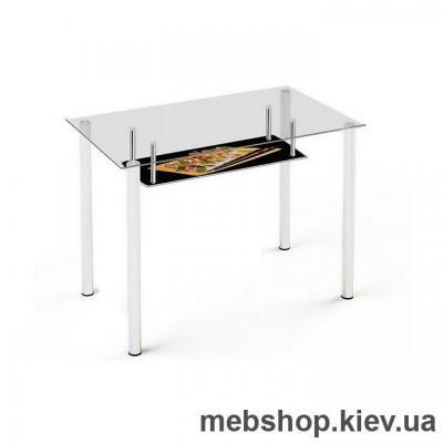 Купить Обеденный стол стеклянный ESCADO S3 верх прозрачный; низ нанесение рисунка, узора, фотопечати или заливка цветом. Фото