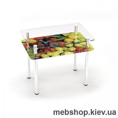Купить Обеденный стол стеклянный ESCADO S4 верх прозрачный; низ нанесение рисунка, узора, фотопечати или заливка цветом. Фото