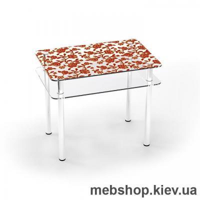 Купить Обеденный стол стеклянный ESCADO S4 верх нанесение рисунка, узора, фотопечати или заливка цветом; низ прозрачный. Фото