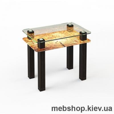 Купить Обеденный стол стеклянный ESCADO SW4 верх прозрачный; низ нанесение рисунка, узора, фотопечати или заливка цветом. Фото
