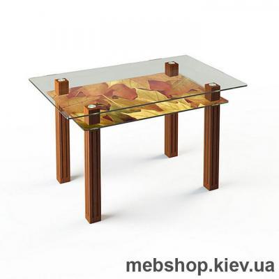 Купить Обеденный стол стеклянный ESCADO SW6 верх прозрачный; низ нанесение рисунка, узора, фотопечати или заливка цветом. Фото