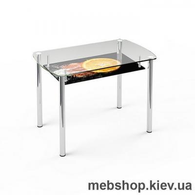 Купить Обеденный стол стеклянный ESCADO S7 верх прозрачный; низ нанесение рисунка, узора, фотопечати или заливка цветом. Фото