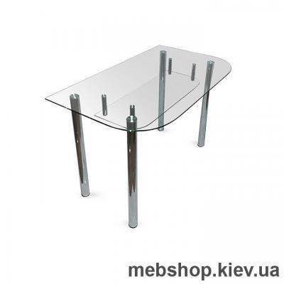 Купить Обеденный стол стеклянный ESCADO A2 верх прозрачный; низ нанесение рисунка, узора, фотопечати или заливка цветом. Фото