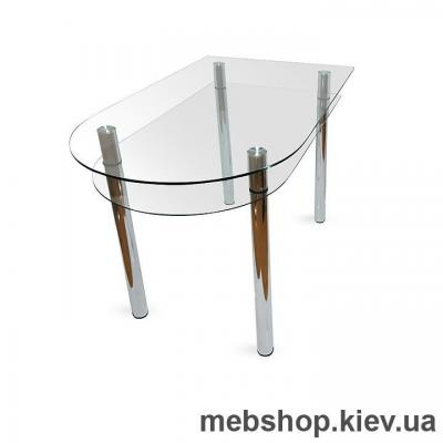 Купить Обеденный стол стеклянный ESCADO A6 верх прозрачный; низ нанесение рисунка, узора, фотопечати или заливка цветом. Фото