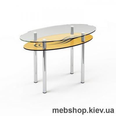 Купить Обеденный стол стеклянный ESCADO O3 верх прозрачный; низ нанесение рисунка, узора, фотопечати или заливка цветом. Фото