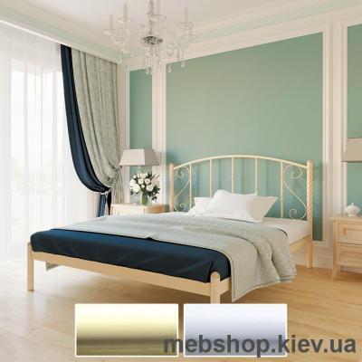 Кровать металлическая Шарлотта цвет бежевый; белый бархат (Металл-Дизайн)