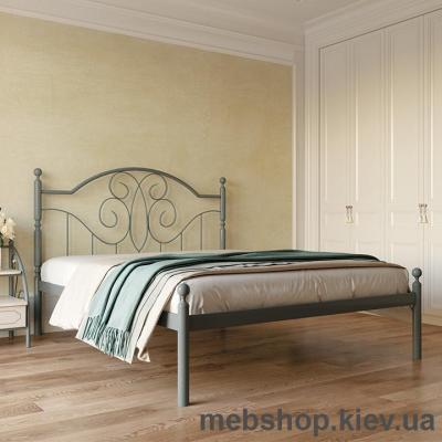 Кровать металлическая Офелия цвет бежевый; белый бархат (Металл-Дизайн)