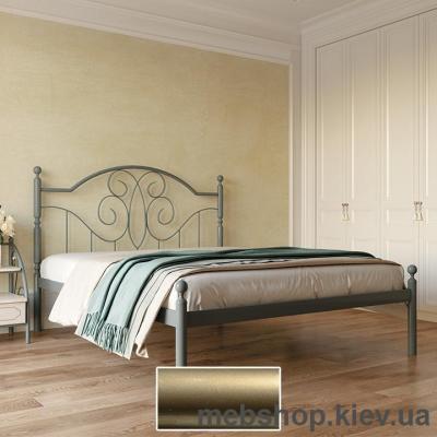 """Кровать металлическая Офелия цвет золото; палитра """"Структура"""" (Металл-Дизайн)"""