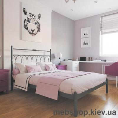 Кровать металлическая Тиффани цвет бежевый; белый бархат (Металл-Дизайн)