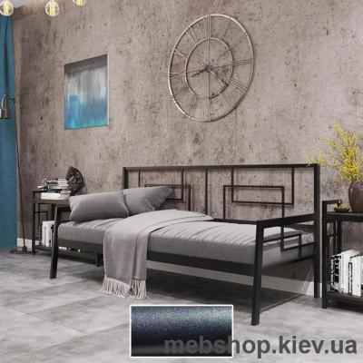 Софа ЛОФТ металлическая Квадро цвет черный бархат (Металл-Дизайн)