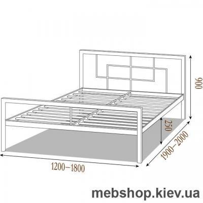 Кровать ЛОФТ металлическая Квадро цвет черный бархат (Металл-Дизайн)