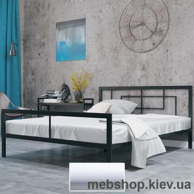 Кровать ЛОФТ металлическая Квадро цвет белый бархат (Металл-Дизайн)