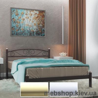Кровать металлическая Вероника цвет бежевый; белый бархат (Металл-Дизайн)