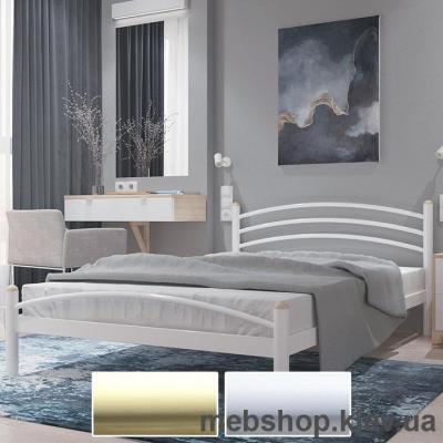 Купить Кровать металлическая Маргарита цвет бежевый; белый бархат (Металл-Дизайн). Фото