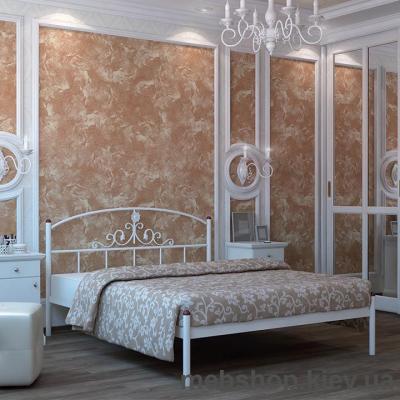 """Кровать металлическая Кассандра цвет золото; палитра """"Структура"""" (Металл-Дизайн)"""