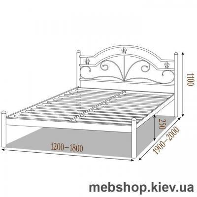 Кровать металлическая Диана цвет бежевый; белый бархат (Металл-Дизайн)