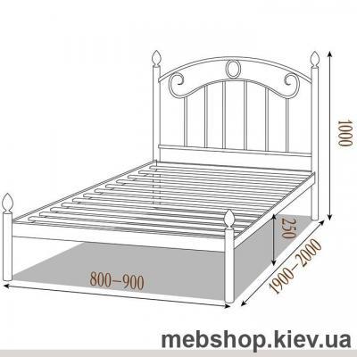 Кровать металлическая Монро мини цвет бежевый; белый бархат (Металл-Дизайн)