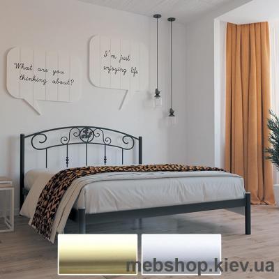 Купить Кровать металлическая Монро цвет бежевый; белый бархат (Металл-Дизайн). Фото